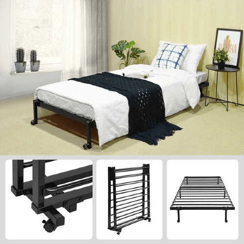 Lillie Metal Folding Bed Frame With Wheels(200 Lbs Weight Capacity)