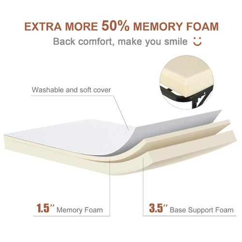 Twin Size Rollaway Bed for Adults 5 inch Memory Foam ...