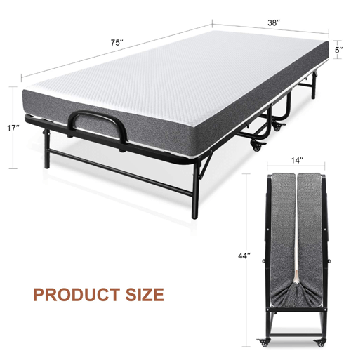 Twin Size Rollaway Bed for Adults 5 inch Memory Foam Mattress (280 Lbs Weight Capacity)