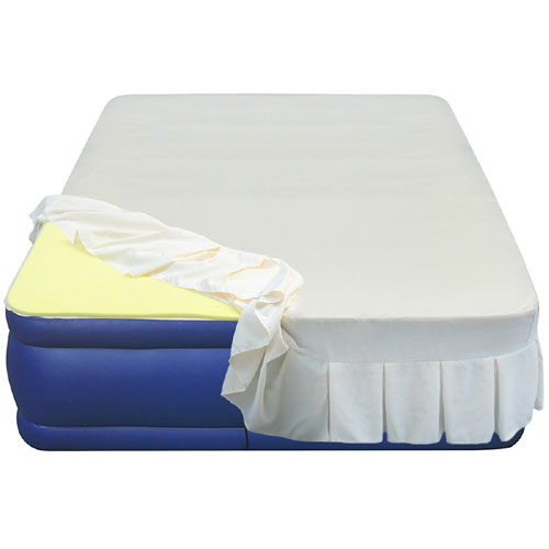 20 Quot Flocked Top Air Mattress With 1 Quot Memory Foam Topper