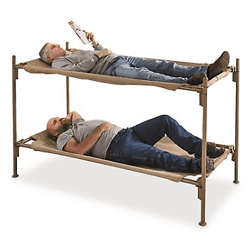 Bunk Bed Steel Frame Italian Military Portable Cot Heavyweight Cotton 41310-38(EBFS)