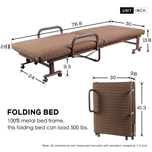 Premium XL Adjustable  Rollaway Bed with Comfort Luxurious Memory Foam Mattress (Weight Capacity 500 lbs)