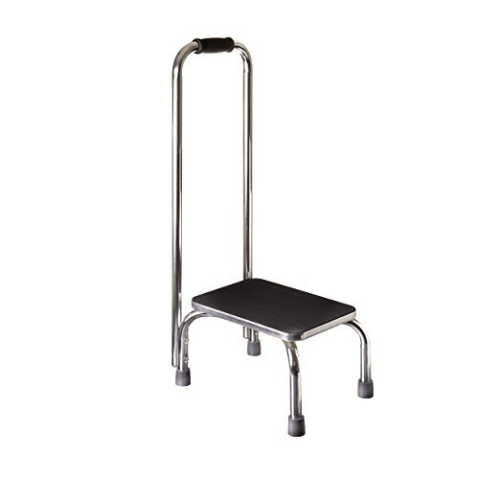 Duro-Med Step Stool with Handle Silver and Black Medical Step Stool for High Beds (250 Lbs Weight Capacity)