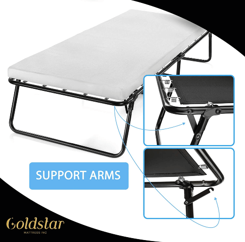 Strong Light Weight Rollaway Folding Guest Bed (275 Lbs Weight Capacity) Extra Long