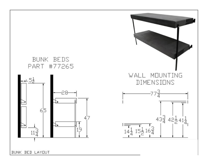Folding Bunk Bed 77265(MOD)(350 Lbs Weight Capacity Per Sleep Surface)(Mattress Included)
