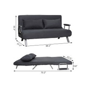 Suede Convertible Sleeper Sofa 833-041(WFFS)