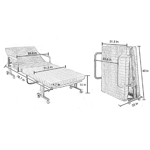 Extra Long Adjustable Folding Rollaway Bed (500 Lbs Weight Capacity) (Free Dust Cover)