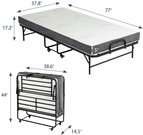 Extra Long Erommy Folding Bed with Super Strong (275 Weight Capacity)