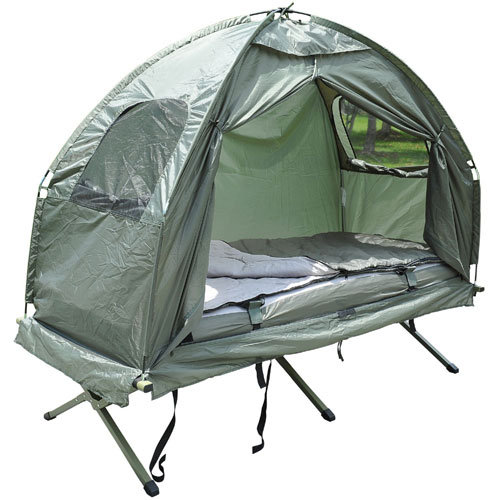 Pop Up Tent Camping Cot With Air Mattress And Sleeping Bag