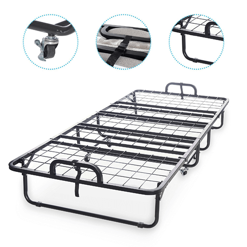 "Super Strong Diplomat Rollaway Folding Twin-size Guest Bed with Luxurious 5"" Memory Foam Mattress 350 lbs Weight Capacity"