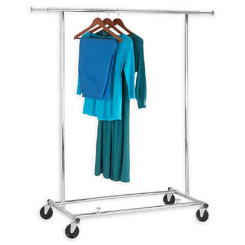 Rent A 74-Inch Collapsible Commercial Rolling Garment Rack in Chrome (110 Lbs Weight Capacity)