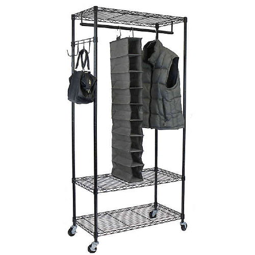 Rent A Garment Rack with Adjustable Shelves and Hooks in Black