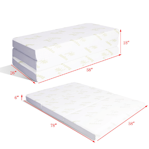 Ultra Soft 6'' Twin/Full/Queen Size Tri-Folding Memory Mattress With Carry Bag