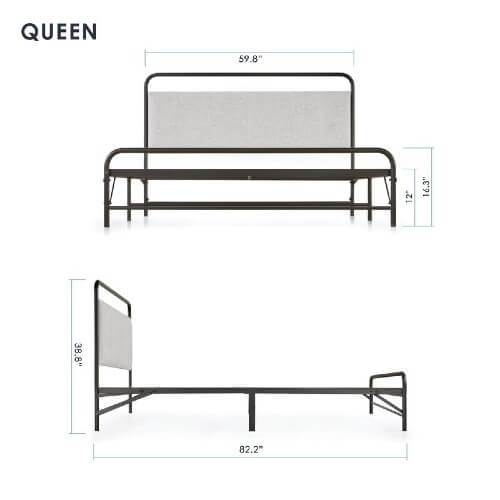 Mellow NOMADI Adult Queen Size Fold Frame with Headboard and Memory Foam Mattress 14792367F(Weight Capacity 500 lbs)