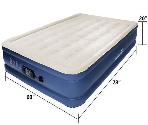 Ivation Inflatable Air Bed - Double Height Air Coil  500 lbs Weight Capacity (AZFS)