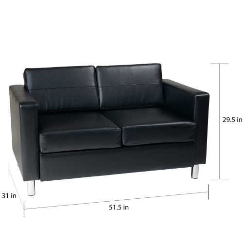Porch & Den Wade Black Faux Leather Love seat 9046125 (Multiple Colors)
