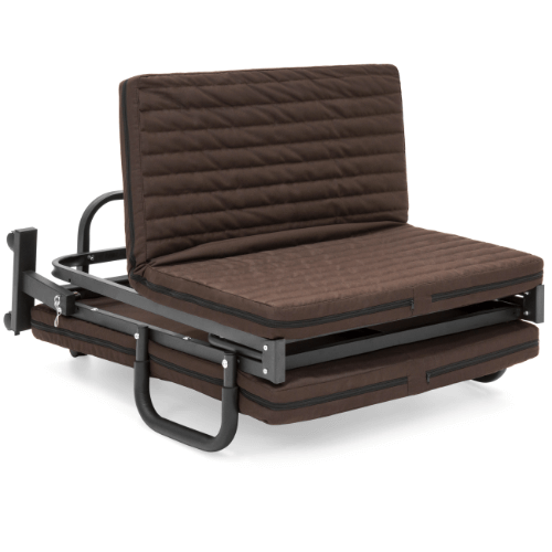 Folding Twin Mattress w/ Portable Wheels Single Bed (Brown)(440 Lbs Weight Capacity)