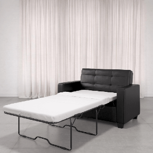 Love seat Sleeper Sofa Twin Black Faux Leather 2171009(WFS)