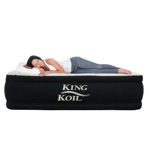 King Koil Multiple Sizes Luxury Raised Air Mattress - Best Inflatable Airbed with Built-in Pump (AZFS)