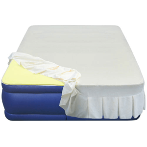 "20"" Flocked Top Air Mattress with 1"" Memory Foam Topper and Skirted Sheet Cover 600 lbs Weight Cap"