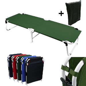 Portable Military Fold Up Camping Bed Cot + Free Storage Bag COT-02-DG(MG)(300 Lbs Weight Capacity)
