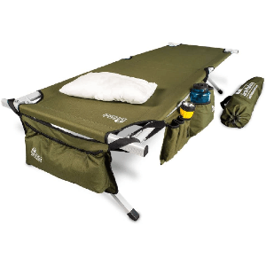 Ultimate Extra-Strong Military Style Camping Cot w/ Free Side Storage Bag System and Pillow EP99