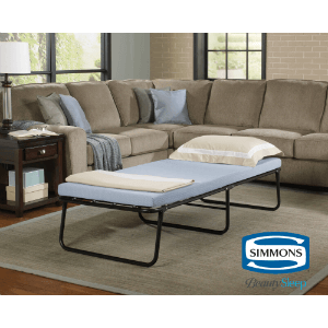 Rent The Simmons Beautysleep Folding Foldaway Extra Portable Guest Bed With Memory Foam Mattress (300 Lbs Weight Capacity)(Ships Throughout The USA)