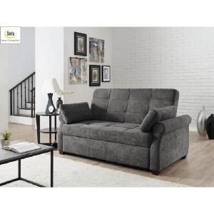 Harrington 37.6 in. Grey Polyester 2-Seater Convertible Tuxedo Sofa