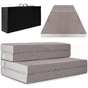 Best Choice Products 4in Thick Folding Portable Full Mattress Topper w/ Carry Case