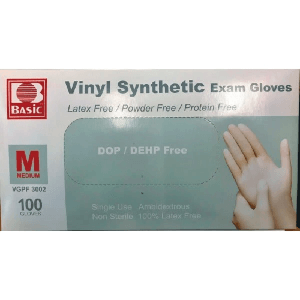 Basic Disposable White Medical Vinyl Glove No Texture Medium Package Of 100 VGPF 3002(HD)