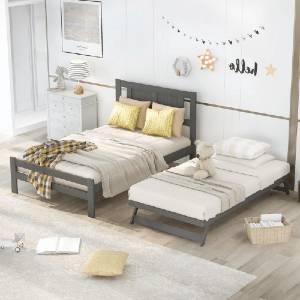 Deluxe Full Size Platform Bed With Adjustable Trundle (Multiple Colors And Sizes)(250 Lbs Weight Capacity)
